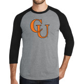 Grey/Black Tri Blend Baseball Raglan-CU