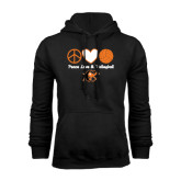 Black Fleece Hoodie-Peace, Love and Volleyball Design