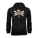 Black Fleece Hoodie-Softball Crossed Bats Design
