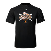 Under Armour Black Tech Tee-Softball Crossed Bats Design