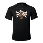 Under Armour Black Tech Tee-Softball Crossed Bats Design