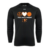 Under Armour Black Long Sleeve Tech Tee-Peace, Love and Volleyball Design