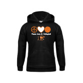 Youth Black Fleece Hoodie-Peace, Love and Volleyball Design