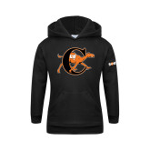 Youth Black Fleece Hoodie-Campbell Official Logo