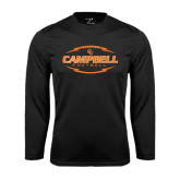 Performance Black Longsleeve Shirt-Lighting Football Ball Design