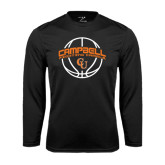 Performance Black Longsleeve Shirt-Basketball Ball Design