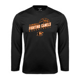 Performance Black Longsleeve Shirt-Basketball Stacked Design