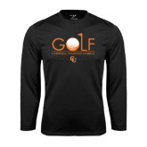 Performance Black Longsleeve Shirt-Golf Text Design