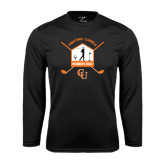 Performance Black Longsleeve Shirt-Golf Crossed Sticks Designs