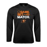 Syntrel Performance Black Longsleeve Shirt-Game Set Match Tennis Design