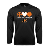 Syntrel Performance Black Longsleeve Shirt-Peace, Love and Volleyball Design