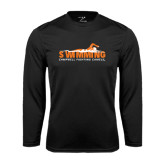 Performance Black Longsleeve Shirt-Swimming w/ Swimmer Design