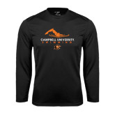 Performance Black Longsleeve Shirt-Swimming Design