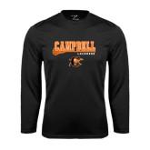 Syntrel Performance Black Longsleeve Shirt-Lacrosse Stick Design