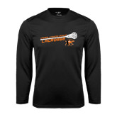 Performance Black Longsleeve Shirt-Lacrosse Stick Rise Design