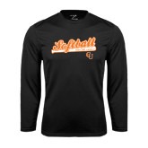 Performance Black Longsleeve Shirt-Softball Script w/ Bat Design