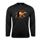 Performance Black Longsleeve Shirt-Campbell Official Logo