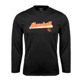 Performance Black Longsleeve Shirt-Baseball Bat Design
