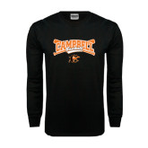Black Long Sleeve TShirt-Baseball Crossed Bats Design