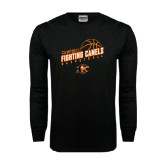 Black Long Sleeve TShirt-Basketball Stacked Design