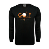 Black Long Sleeve TShirt-Golf Text Design
