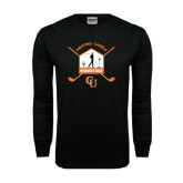 Black Long Sleeve TShirt-Golf Crossed Sticks Designs