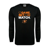 Black Long Sleeve TShirt-Game Set Match Tennis Design