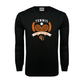 Black Long Sleeve TShirt-Crossed Tennis Design
