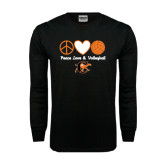 Black Long Sleeve TShirt-Peace, Love and Volleyball Design