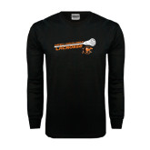 Black Long Sleeve TShirt-Lacrosse Stick Rise Design