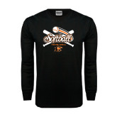 Black Long Sleeve TShirt-Softball Crossed Bats Design