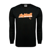 Black Long Sleeve TShirt-Softball Script w/ Bat Design