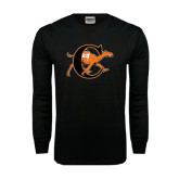 Black Long Sleeve TShirt-Campbell Official Logo - Distressed