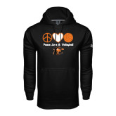 Under Armour Black Performance Sweats Team Hoodie-Peace, Love and Volleyball Design