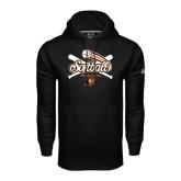 Under Armour Black Performance Sweats Team Hoodie-Softball Crossed Bats Design