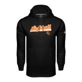Under Armour Black Performance Sweats Team Hoodie-Softball Script w/ Bat Design