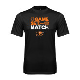 Performance Black Tee-Game Set Match Tennis Design