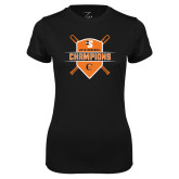 Ladies Syntrel Performance Black Tee-2018 Baseball Champions