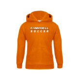 Youth Orange Fleece Hoodie-Soccer Design