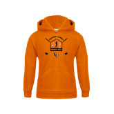 Youth Orange Fleece Hoodie-Golf Crossed Sticks Designs