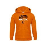 Youth Orange Fleece Hoodie-Game Set Match Tennis Design