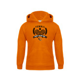 Youth Orange Fleece Hoodie-Crossed Tennis Design