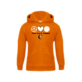 Youth Orange Fleece Hoodie-Peace, Love and Volleyball Design