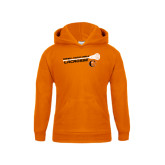 Youth Orange Fleece Hoodie-Lacrosse Stick Rise Design