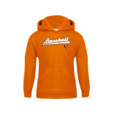 Youth Orange Fleece Hoodie-Baseball Bat Design
