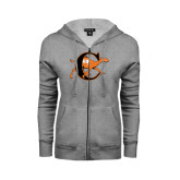 Ladies Grey Fleece Full Zip Hoodie-Campbell Official Logo