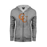 Ladies Grey Fleece Full Zip Hoodie-CU