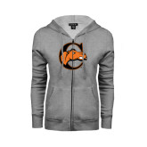Ladies Grey Fleece Full Zip Hoodie-C w/ Camel Head