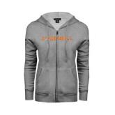 Ladies Grey Fleece Full Zip Hoodie-Campbell Flat