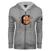 ENZA Ladies Grey Fleece Full Zip Hoodie-Campbell Official Logo
